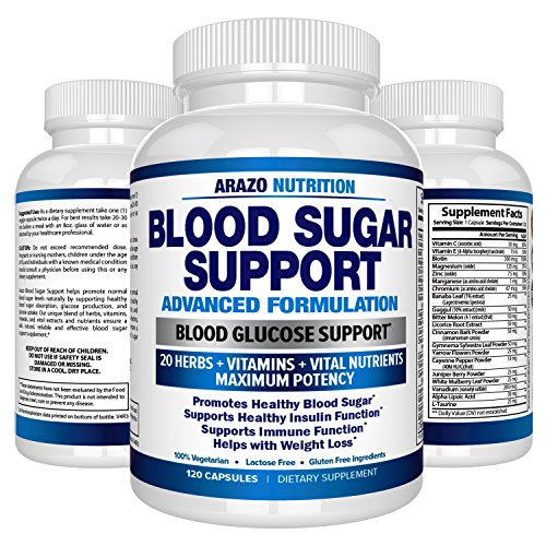 Support Sugar - Blood Sugar Support Supplement – 20 HERBS & Multivitamin for Blood Sugar Control with Alpha Lipoic Acid & Cinnamon – 120 Pills – Arazo Nutrition