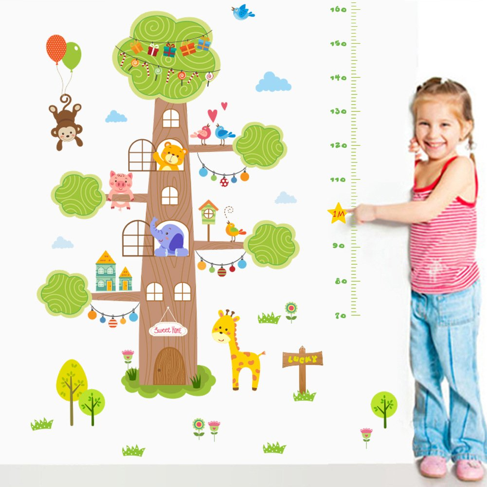 KELAI & craft art decor Large Tree Cartoon Animal Children's Room Height Wall Decals Removable Growth Chart Wall Stickers for Nursery Playroom Girls and Boys Children's Bedroom (#2)