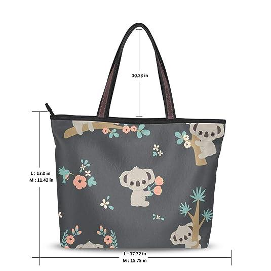 Amazon.com: Bolsa de hombro grande Koala y flores, bolsa de ...