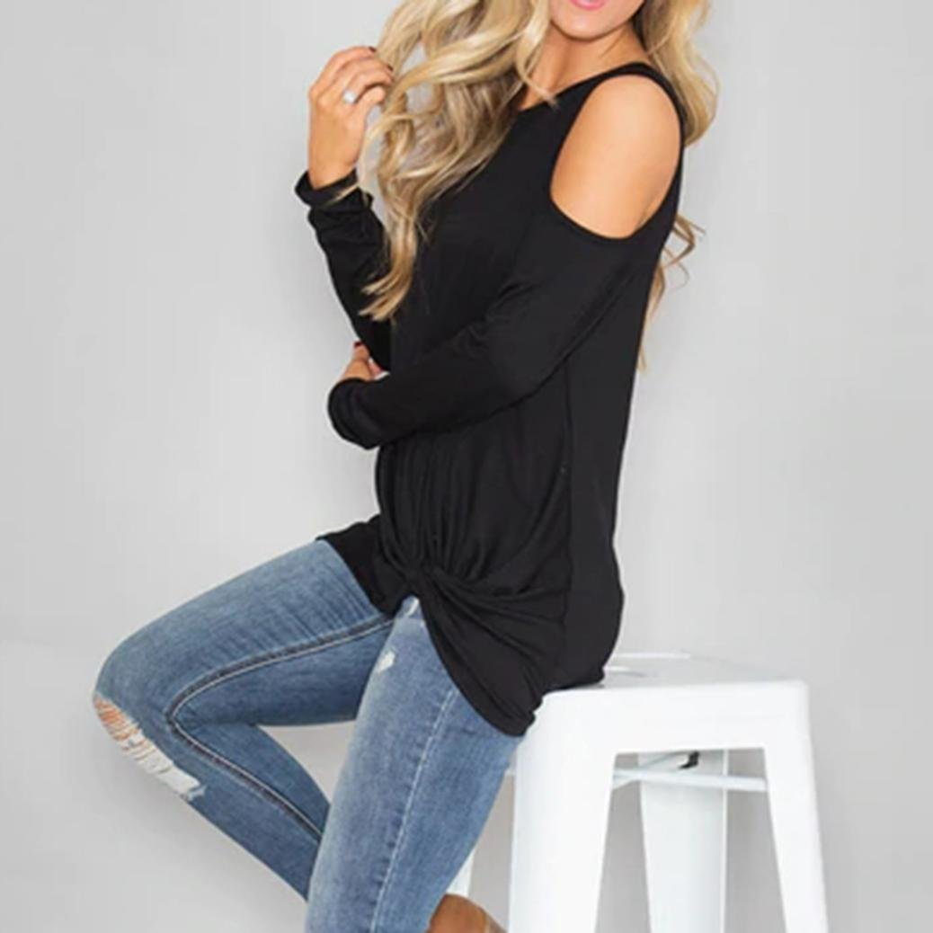 81bfc1efb19c Franterd Women Spring Autumn Casual Long Sleeve Slim Flare Hem Tunic Top  Pullover Blouses with Side ...