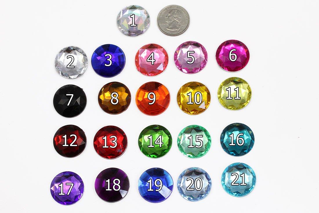 20 Pieces 25mm Purple Amethyst .NAT02 Flat Back Round Acrylic Rhinestones Plastic Circle Gems for Costume Making Cosplay Jewels Pro Grade Embelishments Amethyst