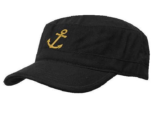 341ad9cf42b2c Boating Hat Anchor Captain Sailing Cap Army Yacht Military Baseball Caps  Drunk Sailor MFAZ Morefaz Ltd (Black Anchor-Gold)  Amazon.co.uk  Clothing