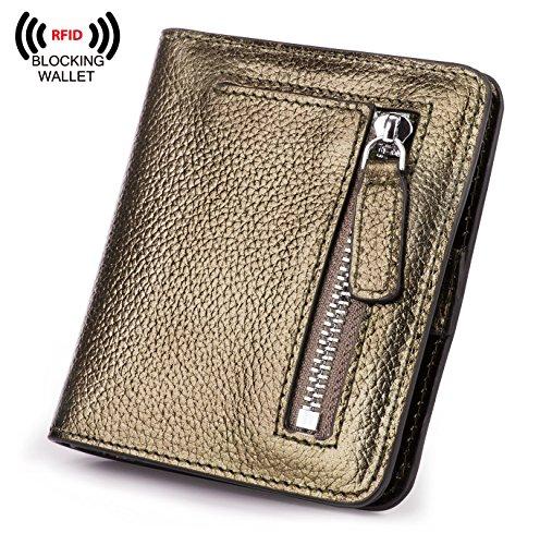 Bronze Wallet - BIG SALE-AINIMOER Women's RFID Blocking Leather Small Compact Bifold Pocket Wallet Ladies Mini Purse with id Window (Bronze)