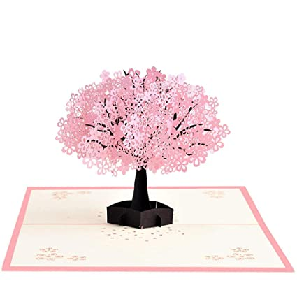 Amazon Generry For Her 3D Cherry Blossom Pop Up Card Happy