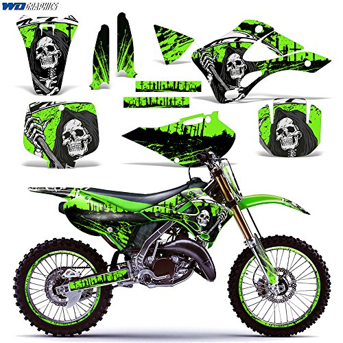 Kawasaki KX125 KX250 1999-2002 Graphics Kit Dirt Bike MX Motocross Decal KX 125 KX 250 REAPER GREEN