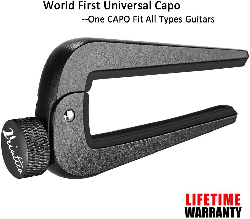 WINGO Universal Cejilla para Guitarra de 6 o 12 Cuerdas, Española Electricas Clásica Electrica Acustica Clasica Folk Bajo instrumento Guitar Capo Ligero Aleación de Aluminio, Negro.