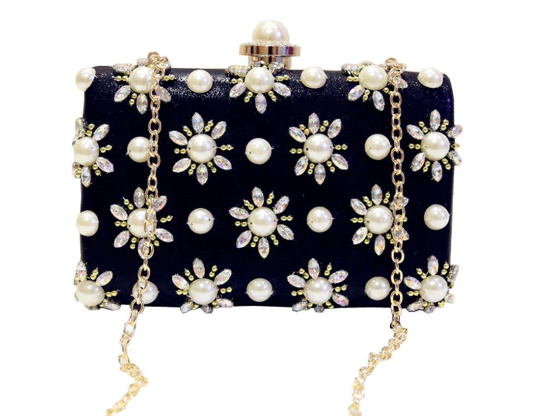 pearl Dinner bag Wedding package Shoulder Bags metal button Messenger bag black