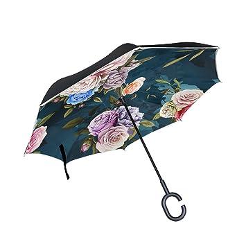 Mnsruu - Paraguas invertido de Doble Capa para Pintura al óleo, diseño Vintage, con