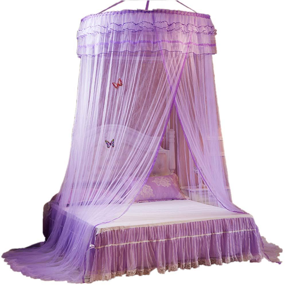 ANPI Mosquito Net, Round Mosquito Nets Luxury Princess Pastoral Lace Bed Canopy Net Crib Luminous Butterfly Purple
