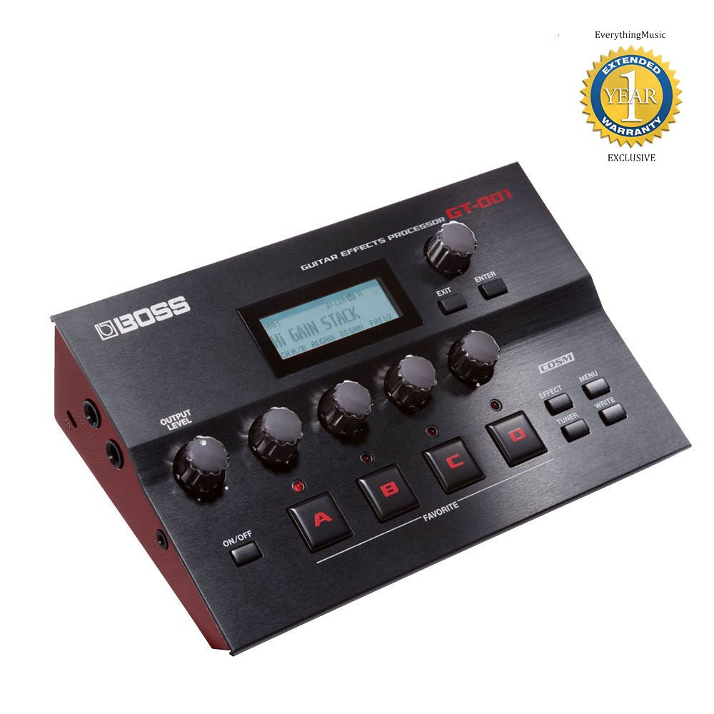 Boss GT-001 Guitar Amp/Effects Processor and USB Audio Interface with 1 Year Free Extended Warranty