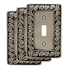 Franklin Brass W10108V-BSP-R Paisley Single Toggle Wall Switch Plate/Cover, 3-Pack Brushed Satin Pewter