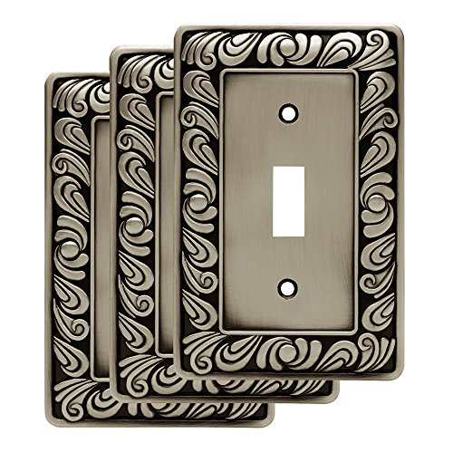 Franklin Brass W10108V-BSP-R Paisley Single Toggle Wall Switch Plate/Cover, 3-Pack, Brushed Satin Pewter