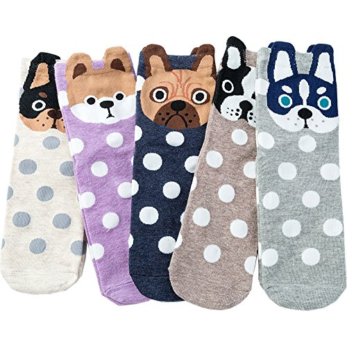 Losa Kute Womens Crew Socks Women Casual Nolvety Gifts Atheletic Cotton Socks Cute Funny Ladies Gift Long Animal Art Printed Sock Pack Fashion Girls Socks for Women FS-5 Pairs Dogs with Ears