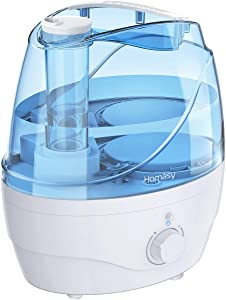 Homasy [Upgraded] Cool Mist Humidifier, 2.2L Ultrasonic Humidifier, 28dB Quiet BPA-Free Air Humidifier for Bedroom, Independent Power Adapter, 30H Working Time, 360° Nozzle, Auto Shut Off, Blue