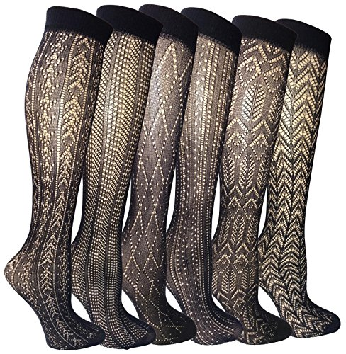 Felicity Womens Knee High Fishnet Patterned Trouser Socks Dress Socks (Assorted A, Black, 6 Pack)