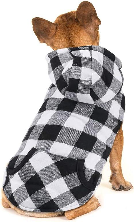 Idepet Camisa con Capucha a Cuadros para Perros, Ropa de Invierno para Mascotas Chaleco Disfraces Abrigo Suave y cálido para Perros pequeños medianos ...