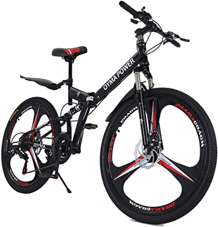 Ship from US Outroad Mountain Bike 21 Speed Double Disc Brake Bicycle Folding Bike for Adult Teens Black