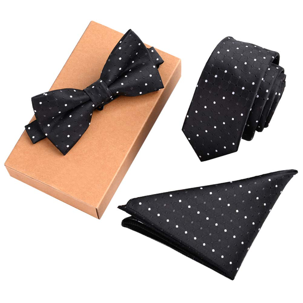 Lanburch Fashionable Premium Formal/Informal Ties Set, Necktie/Bow Tie/Pocket Square for Mens/Boys, Black and White Dot