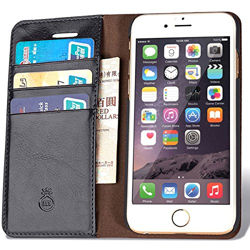 iPhone 7 Leather Wallet Phone Case with Slim Flap Cover and Card Slots 3 Cards