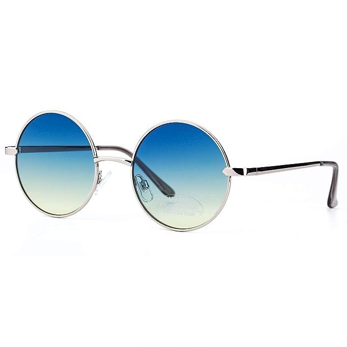 Amazon.com: Gafas de sol redondas retro para mujer, marco de ...