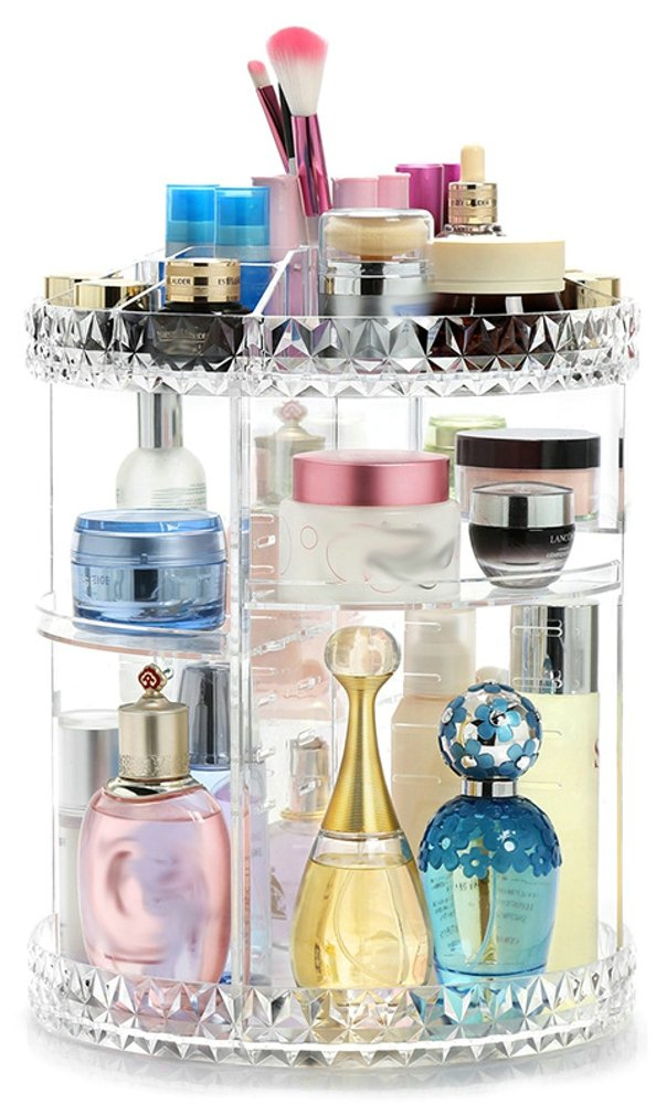 Elezay Women's 360¡ã Revolving Shelf Display Cosmetic Storage Case Adjustable Make Up Storage Tower