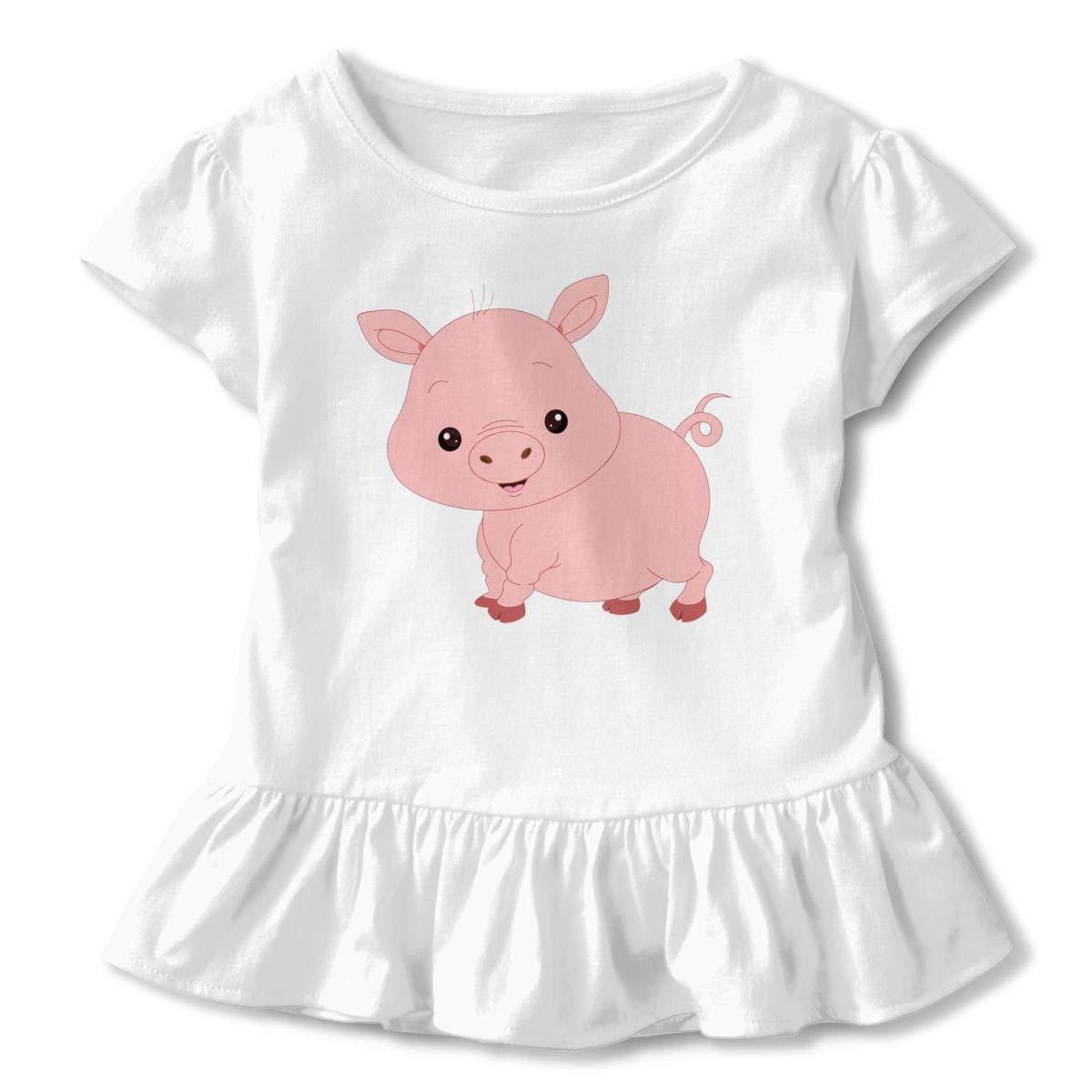 2-Pack Cotton Tee Pink Pig Faces Baby Girls Short Sleeve Ruffles T-Shirt Tops