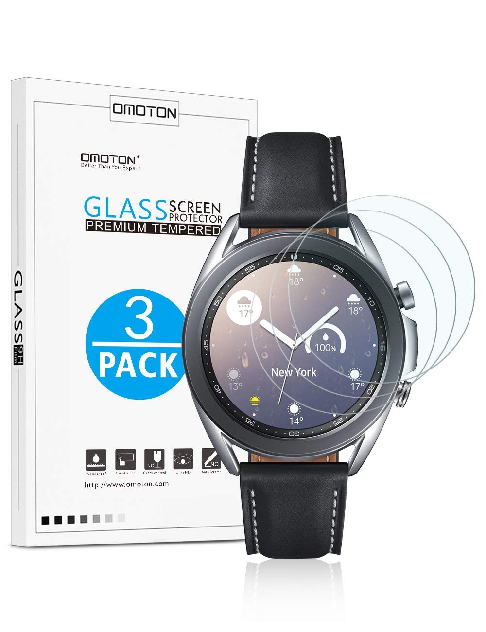 OMOTON [3 Pack] Screen Protector for Samsung Galaxy Watch 3 41mm, Galaxy Watch 42mm - Tempered Glass/Bubble Free/Scratch Resistant