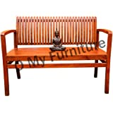 O My Furniture Spline Back Support Sofa Teak Finish Bench