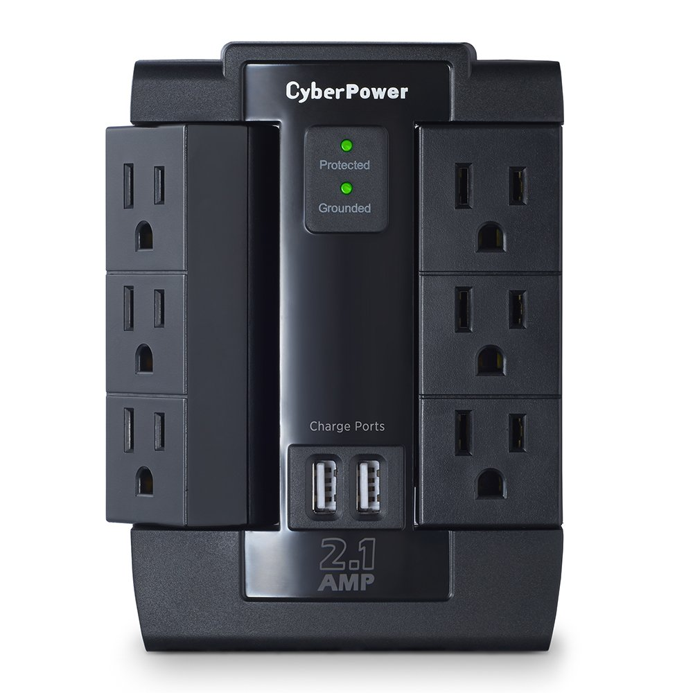 CyberPower CSP600WSU Surge Protector, 1200J/125V, 6 Swivel Outlets, 2 USB Charging Ports, Wall Tap Design