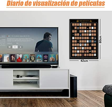 Anpro Póster de Rascar de 100 Películas Lista,6 PCS de Accesorios,Regalos para Amantes de Películas,Lista de Deseos de Películas: Amazon.es: Oficina y papelería