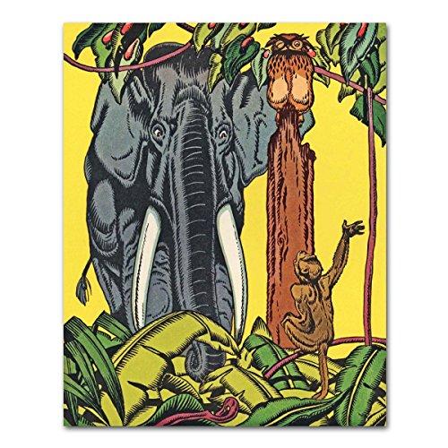 (Jungle Nursery Print, Elephant Baby Shower (Boys Bedroom Decor, Girls Room Wall Art, Aesop's Fable Monkey) – Unframed)