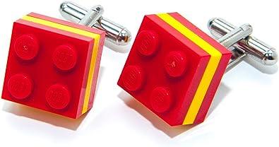 Auténticos gemelos para camisa de bandera de España de ladrillos LEGO – Gemelos de deportes olímpicos, futbol, hechos por Jeff Jeffers.: Amazon.es: Joyería