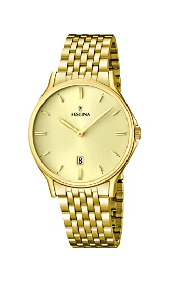 Festina F16746/2 - Reloj de pulsera hombre, acero inoxidable chapado, color dorado: Amazon.es: Relojes