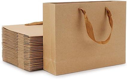 BULK Kraft Paper Bags Gift Food Shopping Carry Craft Brown Bag w Fabric Handles