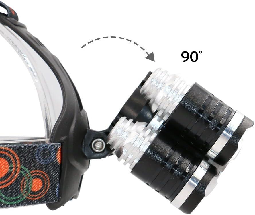 Boruit Lampe Frontale Rechargeable Torche Super Puissante Headlamp Headlight 3 Torche LED 5 T6 LED D/éclairage PX4 Etanche pour Lescalade V/élo P/êche Camping Chasse Excursion Randonn/ée Cyclism