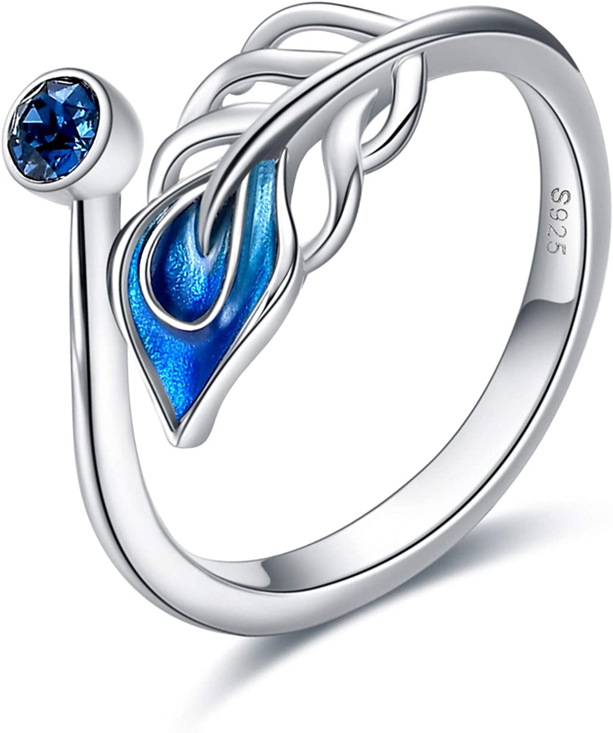 Feather Jewellery Gifts VONALA Feather Ring for Women S925 Sterling Silver Blue Feather Rings