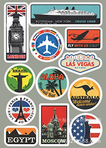 Bamboo's Grocery Children's Room Decor Labels,Waterproof Stickers, Famous Cities and Landmarks,For Travel Luggage Suitcase ,Laptop (3PCS) (B10)