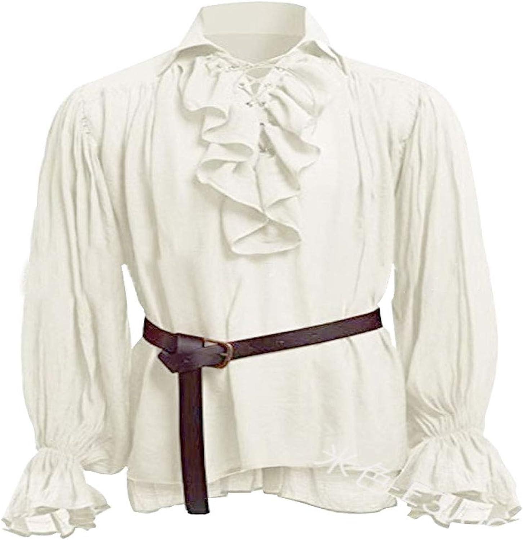 Mens Pirate Renaissance Adult Shirt Lace up Scottish Jacobite Ghillie Tops