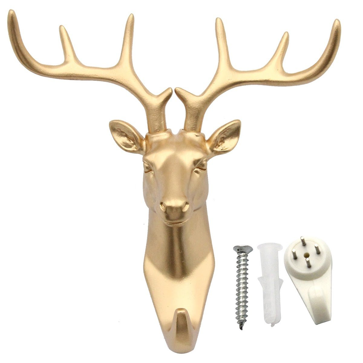 bouti1583 Single Deer Head Antlers Wall Hanger Coat Hat Hook Animal Shaped Decorative Gift Gold by bouti1583