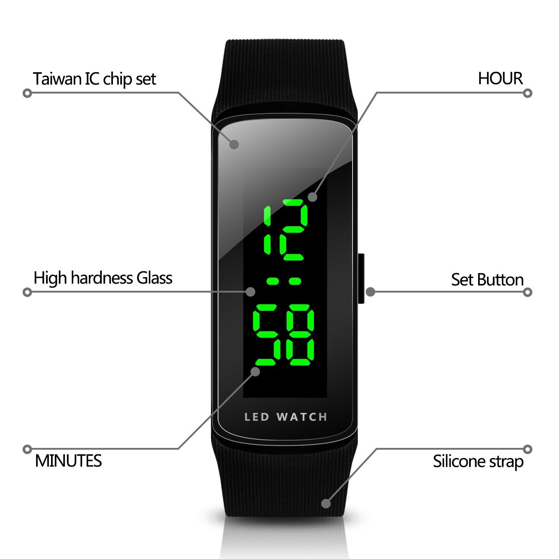 Hiwatch LED Reloj de Moda Deportivo Impermeable Reloj Digital para Niños Chicos  Hombres Mujeres Reloj de Pulsera  Amazon.es  Relojes aec4d64a7b9e