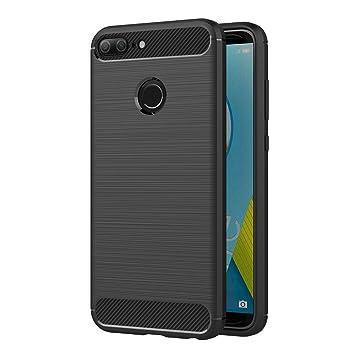 AICEK Funda Honor 9 Lite, Negro Silicona Fundas para Huawei Honor 9 Lite Carcasa Honor 9 Lite Fibra de Carbono Funda Case (5,65 Pulgadas)