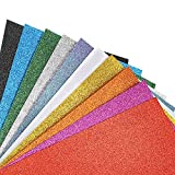 Caydo 10 Pieces 10 Colors Shiny Superfine Glitter Fabric Glitter Felt Sheets for Bag Making, Hat Making, Hair Crafts Making, Jewelry Making, Sewing and Other Decorations