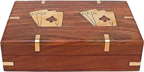 Spielkarten und Würfel Box Holz mit Messingintarsien Spielebox mit Klappdeckel