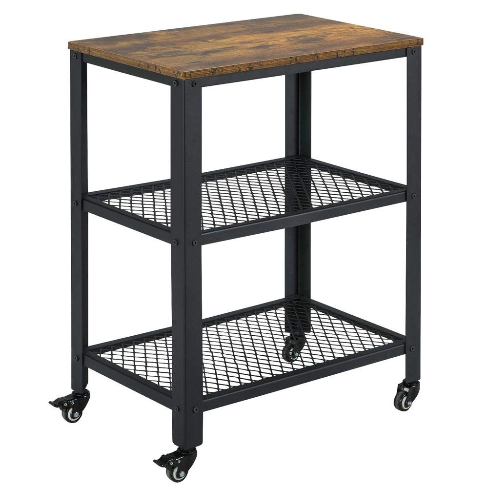 Yaheetech Industrial Side Table with Storage Shelves, 3-Tier End Table for Living Room, Easy Assembly, Wood Look Accent Furniture with Metal Frame, Rustic Brown by Yaheetech