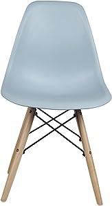 GIA Mid-Century Plastic Chair, 1-Pack, Fog/Wood Legs