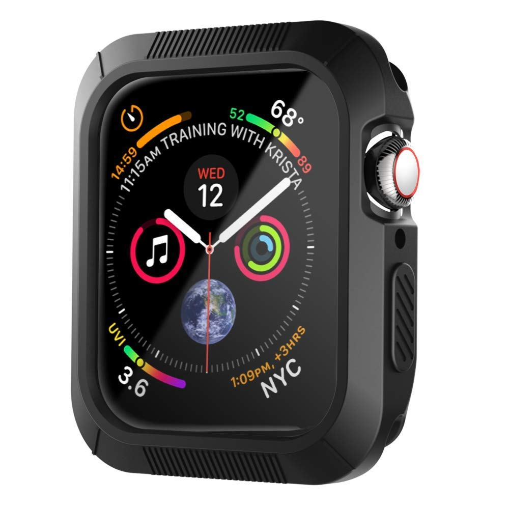 check out f7b63 c4dbc XICHENK Compatible with Apple Watch Case 40mm/44mm, Shock-Proof and  Shatter-Resistant Protective Case Replacement for Apple Watch Series 4 -  Black