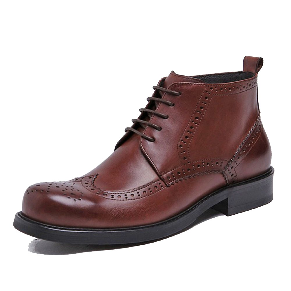 2 Color US Sz 5-12 Genuine Leather Mens Formal Lace Up Brogue Ankle Boots Shoes