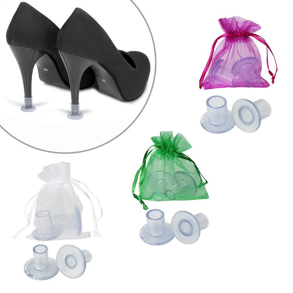 BUZIFU 6 Paires Protege Talon Embouts Talons Femme Couvre,Transparent Heel Protectors de Chaussures à Talons Hauts pour Mariages en Plein Air,Occasions Formelles,Plage(Petit/Moyen/Grand,3 Tailles)