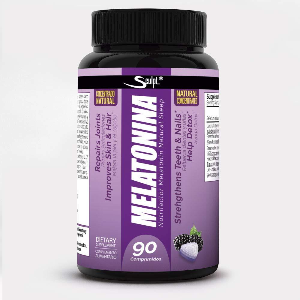 Melatonina Hormona del sueño, sabor naranja, Descanso, Jet lag, dormir mejor, Reduce el insomnio, estrés y fatiga, Extractos de plantas