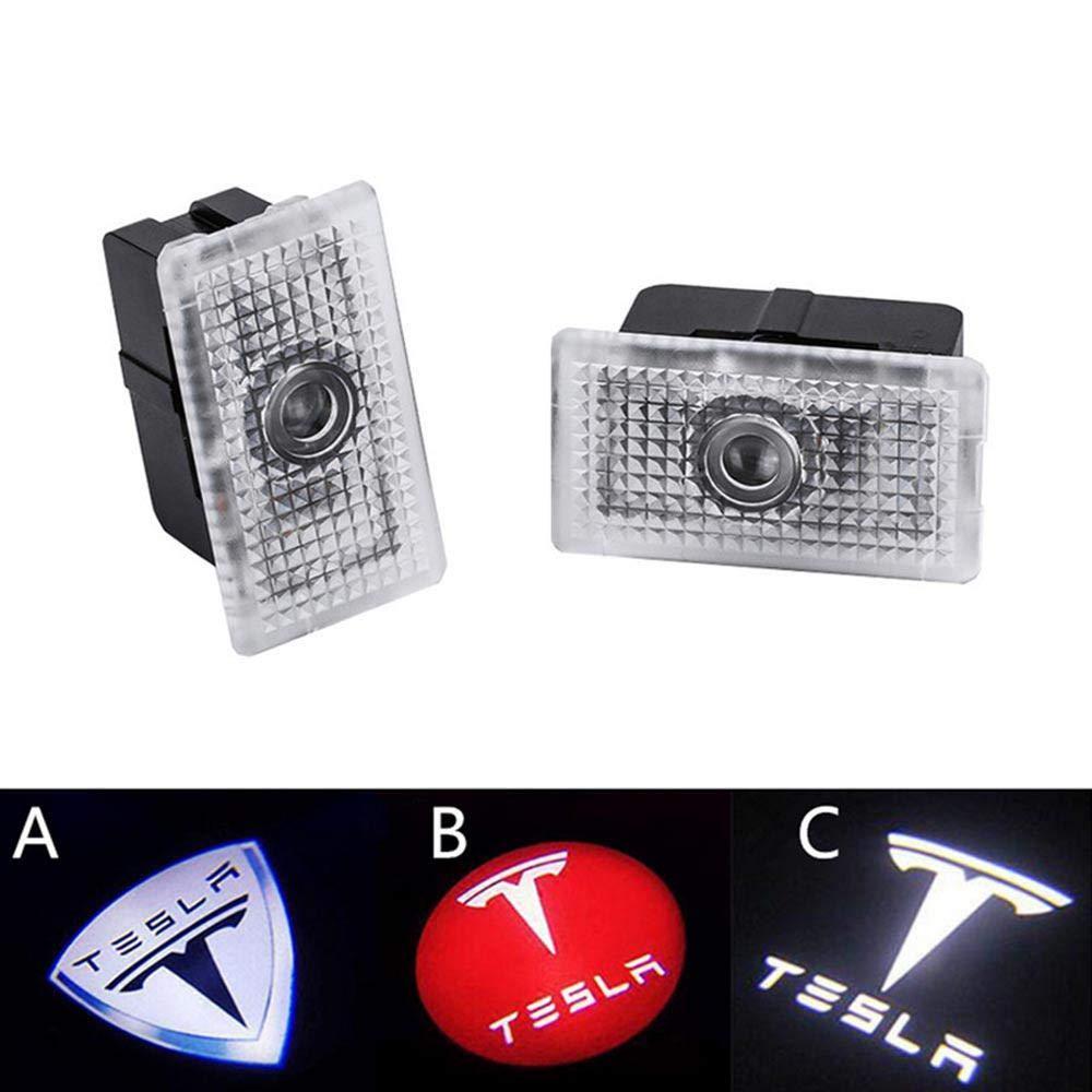 Foonee Tesla Modelo 3 Proyector de luz LED para Puerta de Coche l/ámpara de Bienvenida con Logotipo 2 Unidades no Requiere taladros
